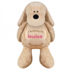 Personalised embroidered soft toy dog